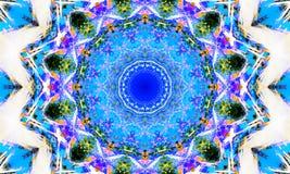 Ljus vit och blå mandalakonst stock illustrationer