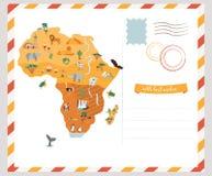 Ljus vykort med översikten av Afrika royaltyfri illustrationer