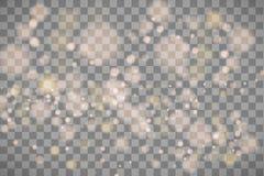 Ljusa abstrakta glödande bokehljus Bokeh tänder isolerad effekt på genomskinlig bakgrund Festlig purpurfärgat och guld- royaltyfri illustrationer