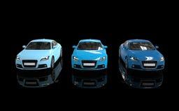 Ljusa blåa bilar på svart bakgrund - Front View Royaltyfria Bilder