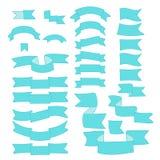 Ljusa blått, turkosband, stor uppsättning av den hand drog designbeståndsdelen, flagga, pil, baner, etikett på vit stock illustrationer
