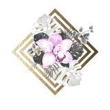 Ljusa blommande orkidé och palmblad på den abstrakta geometriska guld- texturbakgrunden Arkivfoto