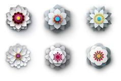 Ljusa blommor för grå färger som 3d isoleras på vit Arkivbild