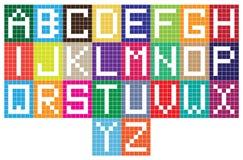 Ljusa bokstäver för alfabet för mosaiktegelplattor Royaltyfria Bilder