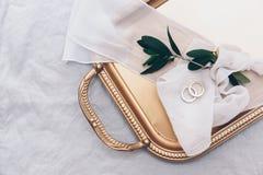 ljusa cirklar för bakgrund som gifta sig white Gifta sig symboler, attribut Champagne på is med champagneexponeringsglas för att  Royaltyfri Foto