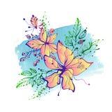 Ljusa den drog fantasihanden blommar på vattenfärgbakgrund Arkivfoto