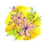 Ljusa den drog fantasihanden blommar på vattenfärgbakgrund Arkivbild