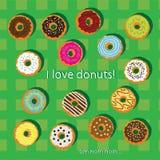 Ljusa donuts på en grön bakgrund Royaltyfri Foto
