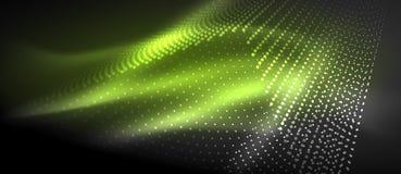 Ljusa effekter för neon, partiklar stock illustrationer