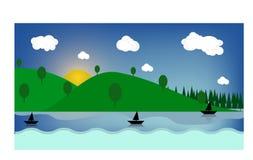 Ljusa fält för färgrik solig sommar, kullelandskap, grönt gräs, klar blå himmel med moln och sol, plan stilvektorillustrat stock illustrationer