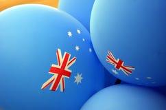 Ljusa färgrika ballonger av Australien nationella färger Arkivbilder