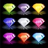 Ljusa färgrika diamanter för tecknad film, Royaltyfri Bild