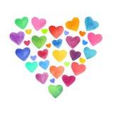 Ljusa för vattenfärghand utdragna och färgrika hjärtabeståndsdelar Rosa blått, gult, apelsin, använde violetta färger stock illustrationer