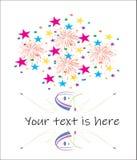 Ljusa faiworks med färgrika konfettier royaltyfri illustrationer