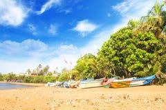 Ljusa fartyg på den tropiska stranden av Bentota, Sri Lanka Arkivbild