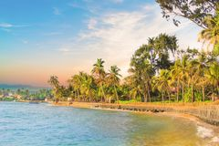 Ljusa fartyg på den tropiska stranden av Bentota, Sri LankaBeautiful sikt av stranden av Sri Lanka på en solig dag Arkivfoto