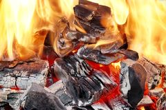 Ljusa flammor och glödande kol i BBQ royaltyfri foto