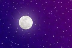 Ljusa fullmåne- och glimtstjärnor i blå och purpurfärgad natthimmel stock illustrationer