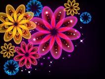 Ljusa glödande blommor Arkivbild