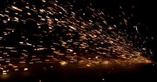 Ljusa gnistor av metall Fotografering för Bildbyråer