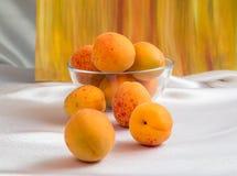 Ljusa gula och orange auricos på en vit bordduk Royaltyfri Fotografi