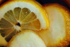 Ljusa gula saftiga citronskivor i svart te som vitaminet dricker bakgrund Royaltyfri Foto