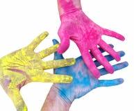 Ljusa händer olika färger Palett av färger royaltyfri fotografi