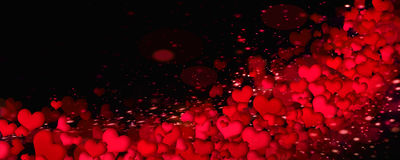 Ljusa hjärtor på en svart bakgrund Royaltyfri Bild