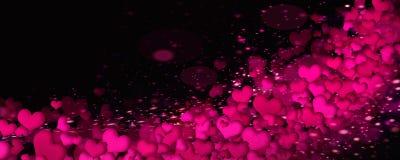 Ljusa hjärtor på en svart bakgrund Arkivbild