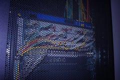 Ljusa indikatorer på värddatordatorhallen i mörkret royaltyfri bild