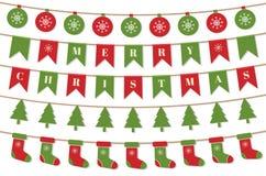 Ljusa julgirlander Bakgrund för glad jul med xmas-bunting sjunker, bollar, julträd, sockor Desig för vinterferie stock illustrationer