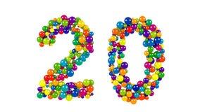 Ljusa kulöra bollar i formen av nummer tjugo Arkivfoton