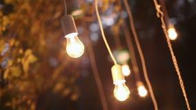Ljusa kulor för dekorativ antik edison stilglödtråd som hänger i träna, glass lykta, lampgarneringträdgård på stock video