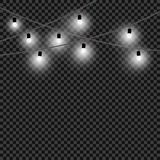 Ljusa kulor för jul En uppsättning av vita ljus och dekorativa objekt Vita glödande girlander för xmas som är hemlagade Vektor so vektor illustrationer
