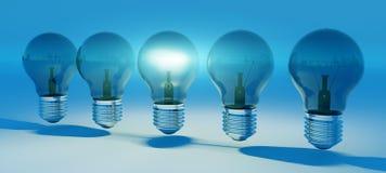 Ljusa lightbulbs ställde upp tolkningen 3D Arkivfoto