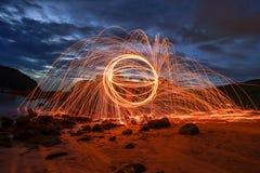 Ljusa linjer av stålull Arkivfoto