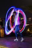 Ljusa linjer för färg för nattshowabstrakt begrepp Royaltyfri Bild