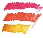Ljusa linjer markör Karmosinrött rött, orange stock illustrationer