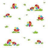 Ljusa m?ngf?rgade blommor Barns roliga teckning stock illustrationer