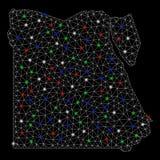 Ljusa Mesh Network Egypt Map med ljusa fläckar royaltyfri illustrationer