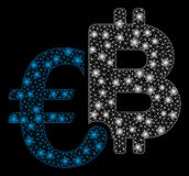 Ljusa Mesh Network Euro Bitcoin Symbols med signalljusfläckar vektor illustrationer