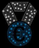 Ljusa Mesh Network Euro Champion Medal med pråliga fläckar stock illustrationer