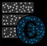 Ljusa Mesh Wire Frame Euro Database med signalljusfläckar stock illustrationer