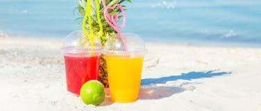 Ljusa nya sunda fruktsafter, frukt, ananas på bakgrunden av havet Sommar vilar, den sunda livsstilen Copyspace Arkivfoto