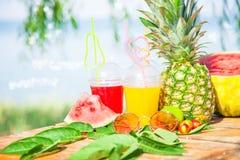 Ljusa nya sunda fruktsafter, frukt, ananas, vattenmelon på bakgrunden av havet Sommar vilar, den sunda livsstilen Arkivfoton