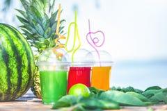 Ljusa nya sunda fruktsafter, frukt, ananas, vattenmelon på bakgrunden av havet Sommar vilar, sunt livsstilkopieringsutrymme royaltyfria foton