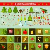 Ljusa och färgrika julbeståndsdelar Arkivfoton