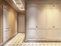 Ljusa och hemtrevliga klassiska moderna Hall Interior Design royaltyfri illustrationer
