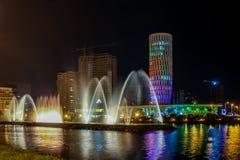 Ljusa och musikaliska springbrunnar som tillbaka installeras i 2009 Arkivbild