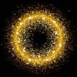 Ljusa paljetter för guld- cirkel Gnistrandecirkel Mallen för jul planlägger, inbjudningar, gåvan, storgubbedesignen, reklamblad Royaltyfria Foton